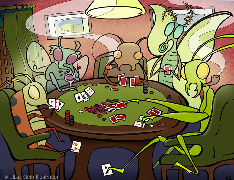 Bugs Playing Poker Illustration