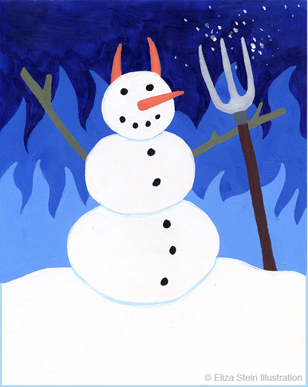 Snowman Devil Illustration