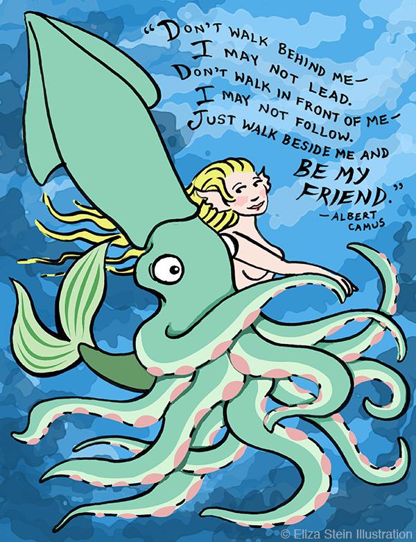 Squid Mermaid Camus Illustration
