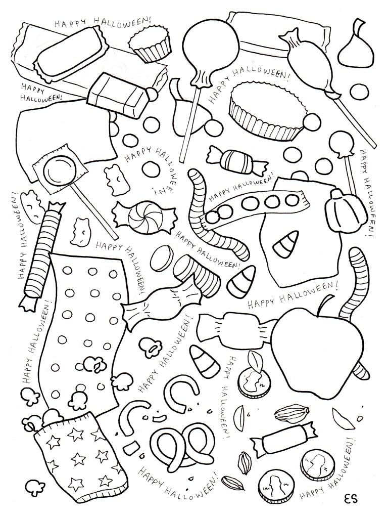 Halloween Candy Coloring Page