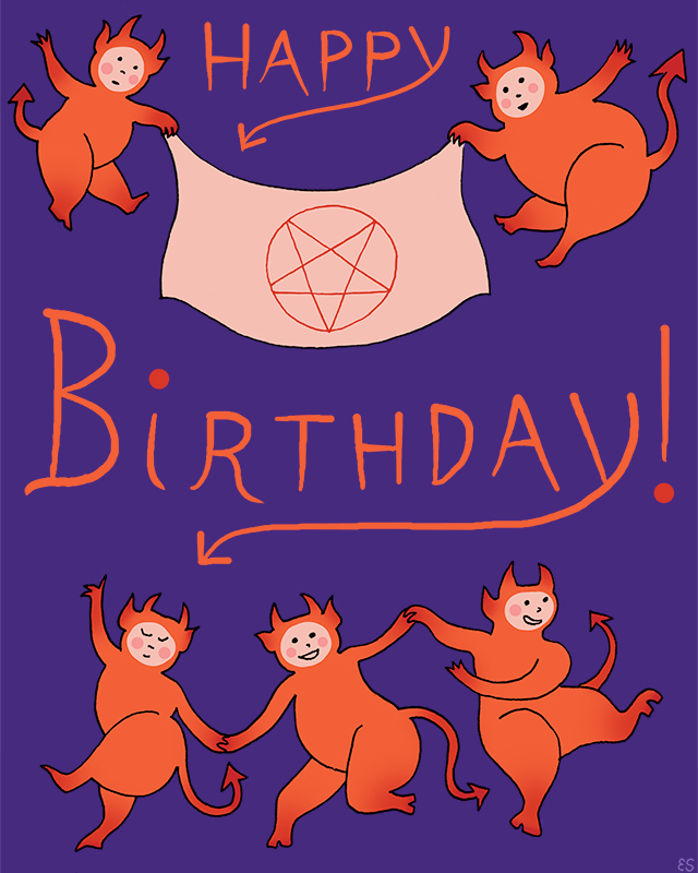 Satanic Birthday Card Illustration
