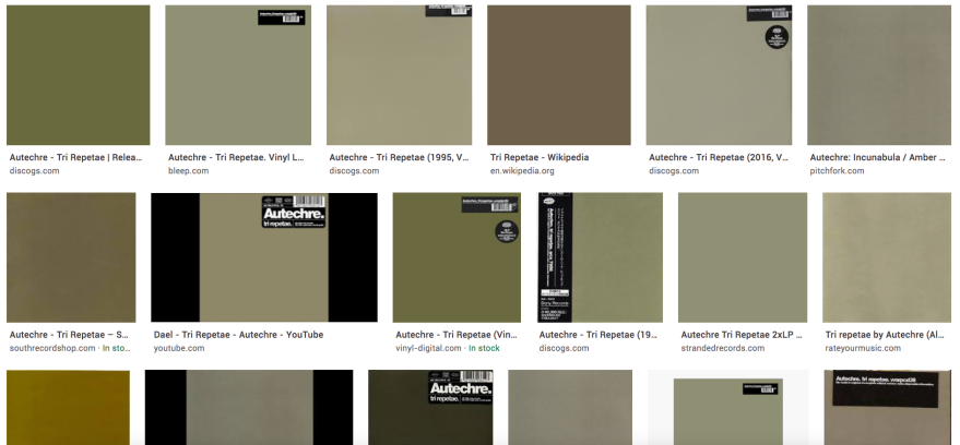"""Autechre """"Tri Repetae"""" various versions of the album cover found during a Google image search"""