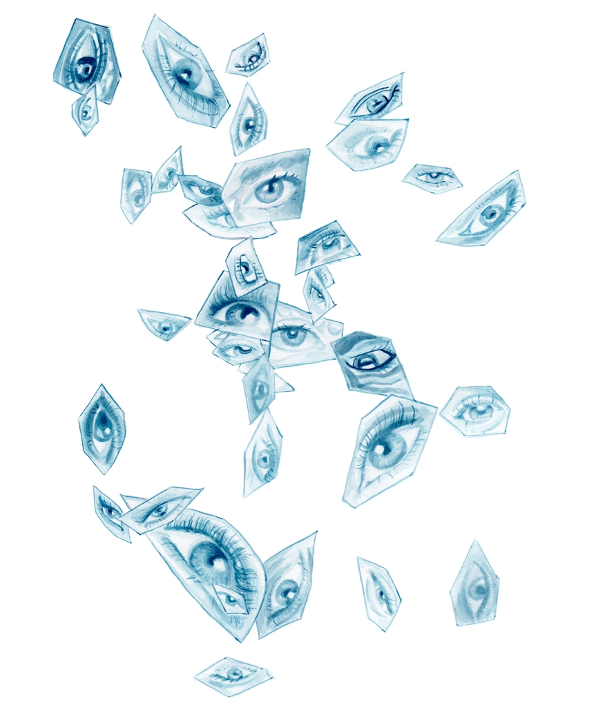 blue ink painting of eyes