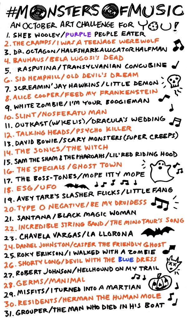 Monsters of Music October Art Challenge list of songs