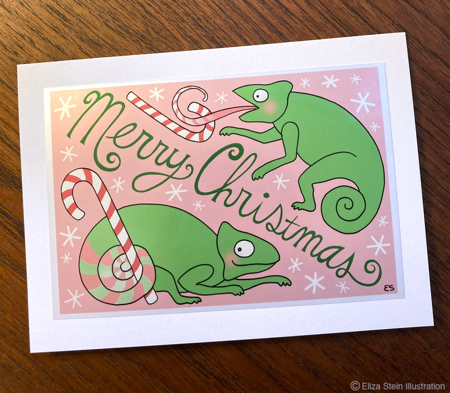 Chameleons and candy canes Christmas card